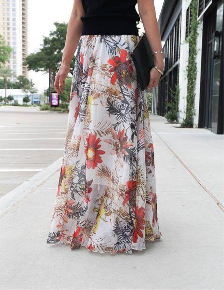 Floral print maxi skirt / workwear / fall outfit / black clutch / wedding guest outfits    #LTKworkwear #LTKunder100 #LTKwedding