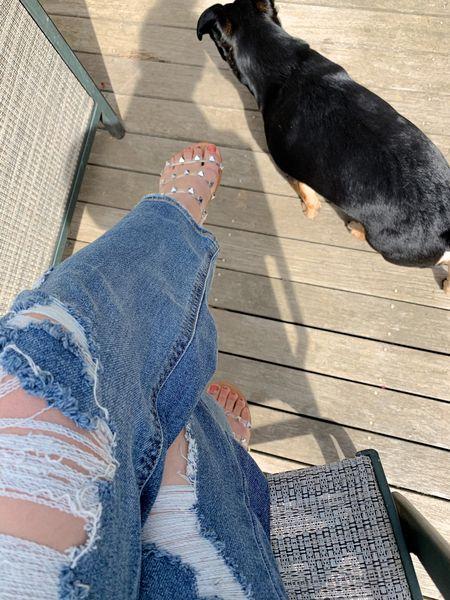 High rise distressed jeans size 00 Straight leg jeans Studded gladiator sandals size 7  #LTKstyletip #LTKunder50 #LTKshoecrush