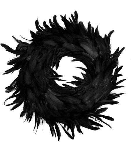 Halloween home decor Amazon Halloween find Cute black wreath Feather wreath Halloween wreath  Halloween finds Amazon find   #LTKfamily #LTKSeasonal #LTKkids