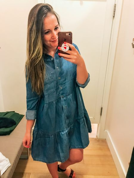 Classic chambray dress, sized up one due to tight arms. Wearing a small   #LTKunder100 #LTKbacktoschool #LTKworkwear