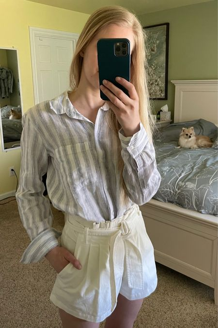 White paper bag shorts with tie Blue and white striped 100% linen shirt  http://liketk.it/3hTlz @liketoknow.it #liketkit