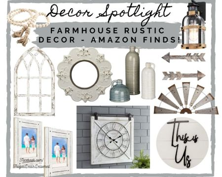 Farmhouse wall house home decor - rustic country chic decorating for kitchen, bathroom, living room and master bedroom decor! Collage inspiration - spring, Easter and summer inspired! Amazon overstock and Walmart finds! Target style inspired decor!    Screenshot this pic to get shoppable product details with the LIKEtoKNOW.it shopping app - make sure you follow FrugalDealsDelivered for more collages and inspiration! http://liketk.it/3a8Gm #liketkit @liketoknow.it #LTKhome #LTKSeasonal #StayHomeWithLTK @liketoknow.it.home