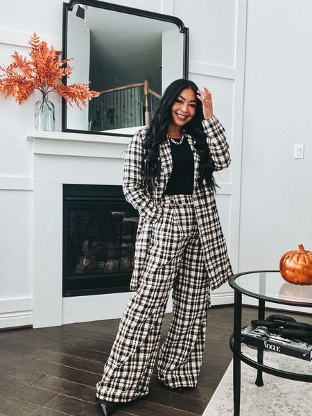 These wide leg tweed pants and jacket are everything I wanted them to be! Wearing a small in the jacket and medium in the pants #ltkfall #falloutfits  #LTKSeasonal #LTKstyletip