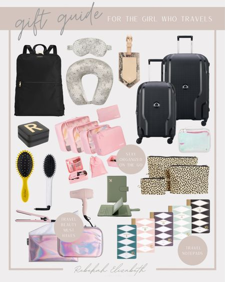 Gift guide for the girl who travels! Love these suitcases, travel beauty sets, organization cubes and pouches to easily find items on the go #rebekahelizstyle   #LTKGiftGuide #LTKHoliday #LTKtravel