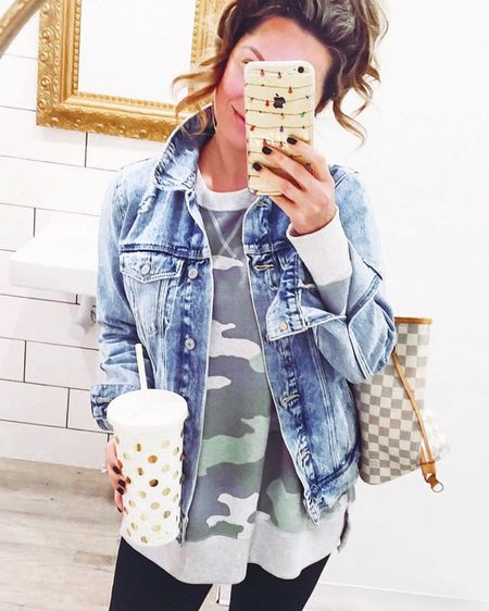 Restock Alert! 🚨 The camo sweatshirt that you girls loved last Fall is back and ON SALE! I'm also linking my ride or die denim jacket 🙌🏻 You can instantly shop my looks by following me or with a screenshot on the LIKEtoKNOW.it app!  - - -  http://liketk.it/2Gm7P @liketoknow.it #liketkit #LTKunder50 #LTKsalealert