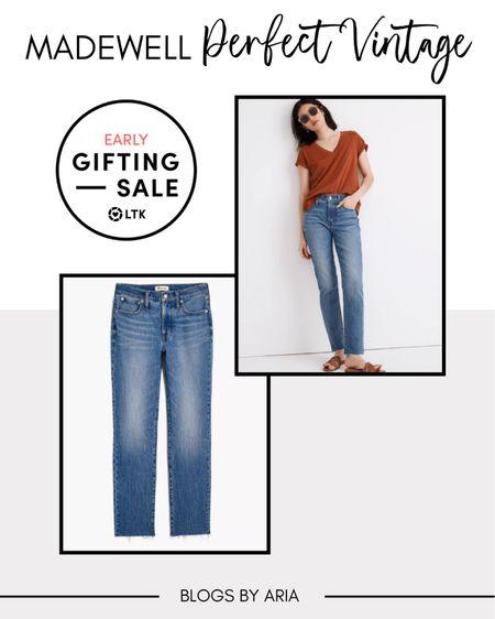 Madewell perfect vintage jeans on sale!! Denim jeans Madewell denim Fall fashion   #LTKstyletip #LTKSale #LTKSeasonal