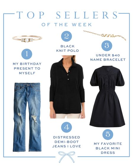 Top sellers of the week // Catbird pearl ring, Etsy gold name bracelet, Tuckernuck knit polo, J.Crew distressed demi-boot jeans, black puff sleeve cotton poplin shirtdress