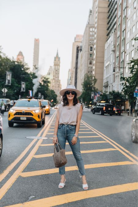 Muscle tank Agolde Jeans Denim Fall outfit Casual outfit Hats Heels    #LTKstyletip #LTKshoecrush #LTKunder50