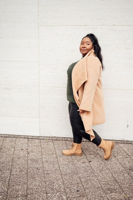 Plus size fall outfit | fall coats, wool coats, plus size outerwear, affordable coats, fall boots, long sleeve tops, faux leather leggings    #LTKcurves #LTKSeasonal