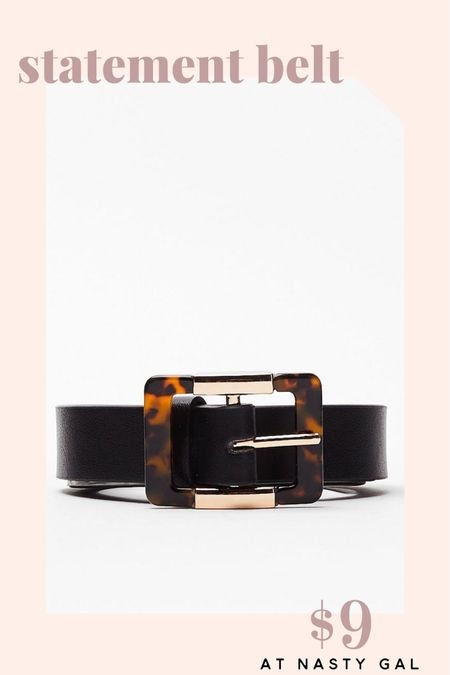 Every girl needs a black leather belt in their closet. Get this tortoiseshell buckle belt from Nasty Gal while it's on sale for 60% off.   http://liketk.it/2QuT3 @liketoknow.it #liketkit #LTKunder50 #LTKstyletip #LTKsalealert