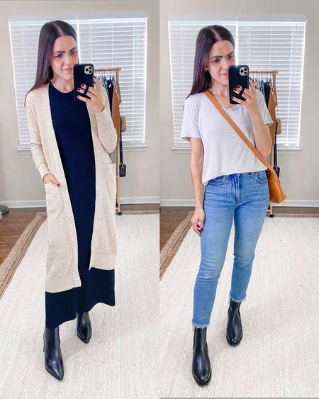 New ABLE favorites // Neva long pocket cardigan (xs), black Amber boot (size down .5), Mae drapey tee (xs), Wilma boot (tts), Olivia cognac crossbody     #LTKstyletip