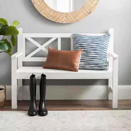💕💕So in love with my Ivory Farmhouse X-Back Wood Bench from Kirkland's 💕💕  Unfortunately it is sold out online. You may still be able to find it in your local store though: Item #215782 SKU 22-215782   But, not to worry, I found some equally beautiful farmhouse bench options for you.   Follow me on the @liketoknow.it shopping app to get the product details for this look and others http://liketk.it/3bKMs    #liketkit #LTKhome #LTKsalealert #LTKSpringSale