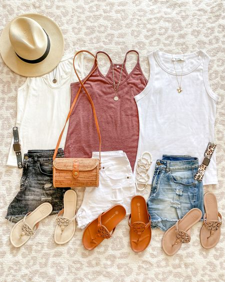 Amazon fashion finds // amazon shorts // amazon tanks // all size small // amazon summer hat // Tory Burch Miller sandals  Save 10% on my bracelet code holly10 •summer style • summer outfit • summer fashion • amazon fashion • easy outfit • comfy style • casual • everyday outfit• outfit ideas • mom style • petite  • affordable outfit   #LTKunder50 #LTKstyletip #LTKshoecrush