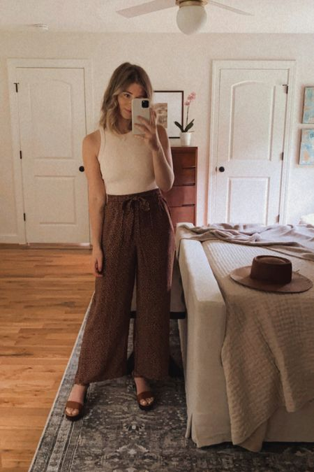 transitional look, summer to fall outfit - nude tank (fits TTS) with brown floral trouser pants (fit TTS) and brown straw hat. trouser pants have a matching tank to create a matching set - perfect to pair together or style separately  #LTKunder100 #LTKunder50 #LTKstyletip