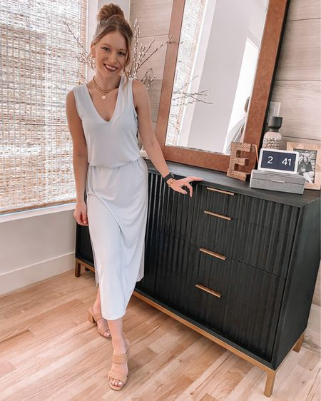 Summer dress, open Edit high slit dress in an XS, Target braided sandals 7.5, both tts #liketkit @liketoknow.it http://liketk.it/3hXmj #LTKunder50 #LTKstyletip #LTKworkwear