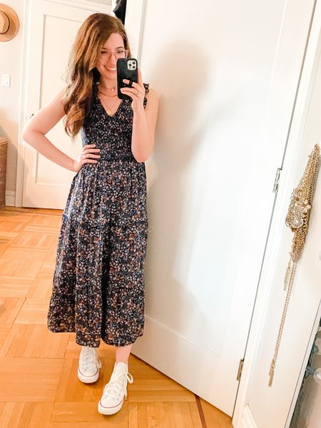 """Dress: TTS, wearing the regular length. If you're shorter than 5'2"""", get the petite option.   Sneakers: TTS, but they only come in whole sizes so if you're a half size, size down  #LTKstyletip #LTKsalealert #LTKSeasonal"""