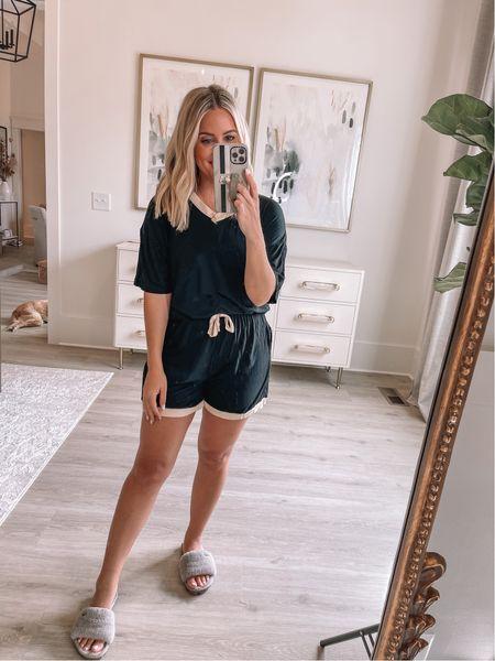Wearing small in pajamas (ALEXA40 for discount) // slippers true to size // loungewear //    #LTKshoecrush #LTKunder50 #LTKsalealert
