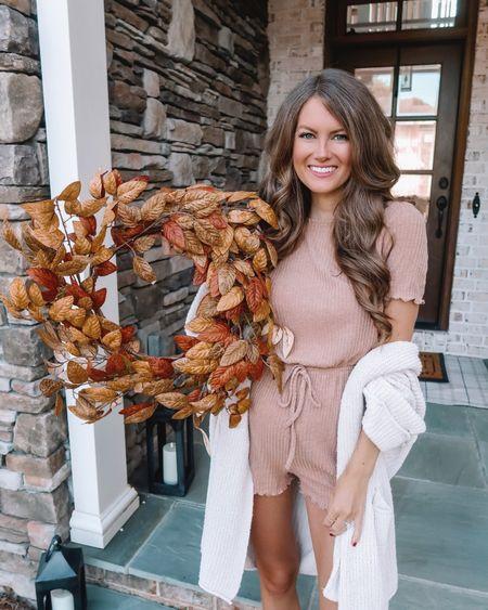Cozy Amazon finds! 🍂 Fall outfit, fall fashion, cardigan, romper, fall wreath, cmcoving, Caitlin Covington, Amazon fashion  #LTKSeasonal #LTKunder100 #LTKunder50