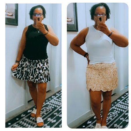 Two summer looks I planned to wear in heavy rotation.  Both outfits are from Amazon ans I love them.  Sandal slides from Target.    Well, things happen.  I had to have knee surgery and my summer plans have drastically changed ans so will my wardrobe.    I am wearing a brace for six weeks, physical therapy bi-weekly ans weekly, crutches and all this requires different clothing.    Primarily will be wearing tanks and shorts that allow me to move easily and do PT more effectively.    So I wanted to share my last cute skirt looks because It will be fall before I can rock them again.    It is what it is Lovelies.  #amazonfashion #amazon #casualoutfit #competition #miniskirt #summerfashion #summerstyle #tanktops #targetstyle #targetfashion   #LTKSeasonal #LTKcurves #LTKstyletip