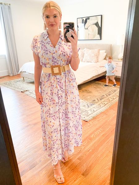Photobomber! I pounced when I saw the new print in this tie belt dress {I bought two in other prints last year}. This shirt dress is easy to dress up or down and it's fun to add a different belt with, too. Fits TTS.   #LTKunder50 #LTKSeasonal #LTKstyletip
