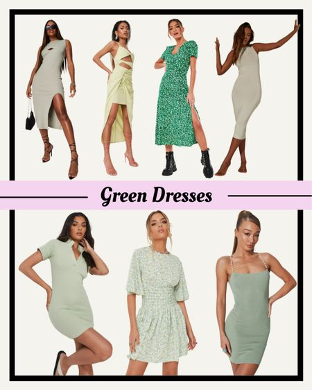 If you're looking for a green dress then check out these green dresses from a Missguided.  These are great for vacation outfits, summer outfits, wedding guest dresses. I've also included maxi dresses, midi dresses and mini dresses so you can find anything kind of dress you like. #dress #greendress #greendresses #maxidress #weddingguestdress #vacationoutfits #summeroutfits #LTKunder50 #LTKsalealert #LTKwedding http://liketk.it/3kAnj  #liketkit @liketoknow.it
