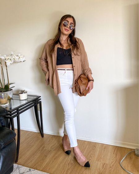 Casual spring look. White jeans, black tank, nude button down, nude heels, brown clutch. http://liketk.it/3e40U #liketkit #LTKunder50 #LTKunder100 #LTKworkwear @liketoknow.it