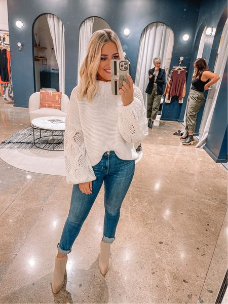 Casual weekend look // wearing 26 in jeans, xs in sweater, boots tts // fall outfit //   #LTKstyletip #LTKshoecrush #LTKunder100