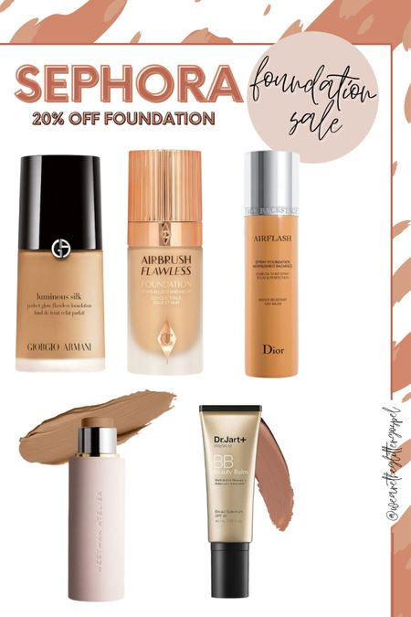 """20% off foundation at Sephora through midnight tonight.   These foundations or BB creams are all over $50 and I rarely buy them not on sale.   Dior air flash is what I wore for my wedding. It is beautiful on.   Charlotte tilbury airbrush is the new double wear in my opinion. Long wearing , matte, locks down. Not for dry skin.  Westman atelier is a new to me this last year but the finish is beautiful and the brand is clean which is hard to find.   Dr Jart bb cream has been about all I've worn all summer. So light and beautiful for """"no foundation foundation"""" looks. It looks like  beautiful medium coverage foundation in my opinion.   Georgia Armani is a what I ordered. It's a cult classic. I got shade 4 and will review when it comes in.   #LTKSale #LTKbeauty"""