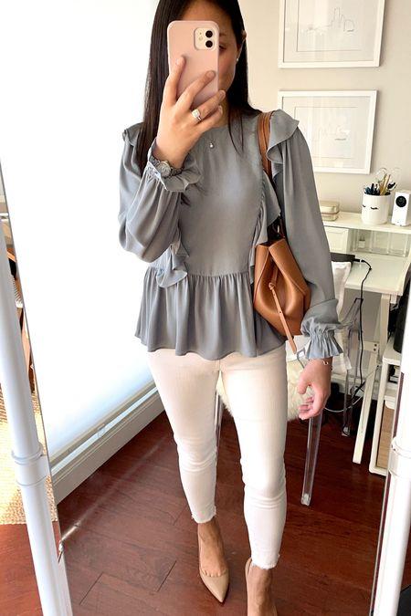 This ruffle top is 48% off using code FLASH48. I took my usual size XXS regular.   #LTKworkwear #LTKsalealert #LTKstyletip