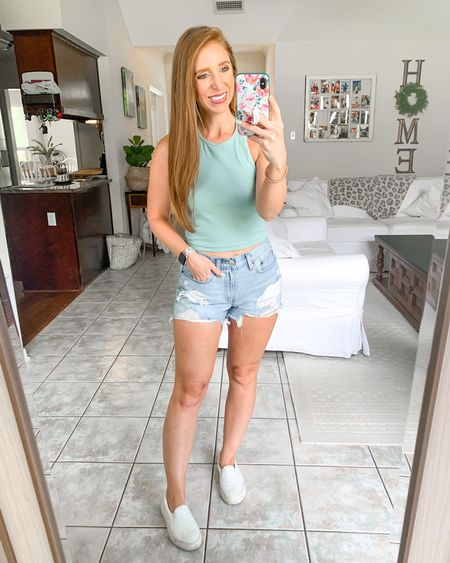 Amazon fashion tank top under $15!              Amazon finds  Racerback tank  Jean shorts  Denim shorts  Summer outfits  White sneakers  Casual outfit   #LTKunder50 #LTKstyletip #LTKshoecrush