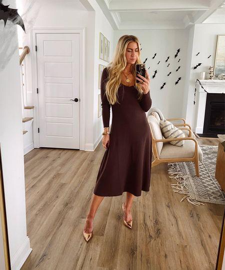 Brown knit dress + gold heels