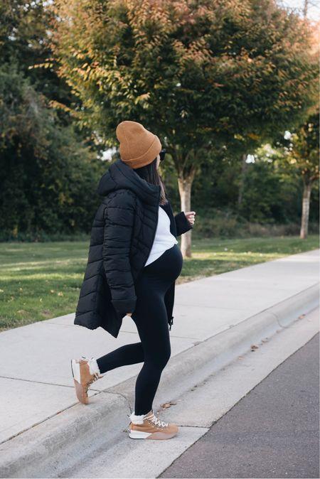 Fall essentials. Bernardo puffer coats are great for petites! Love these Sorel Out N' About boots. Waterproof and so warm!   Coat - Bernardo small Beanie - Madewell Leggings - Ingrid & Isabel 1 Boots - Sorel 5.5  #LTKSeasonal #LTKshoecrush
