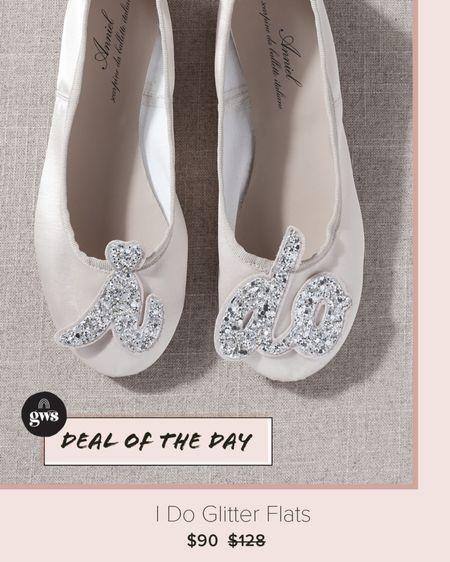 I Do glitter flats. On sale! Perfect wedding day - or day after! shoes. http://liketk.it/361TP #liketkit @liketoknow.it    #LTKshoecrush #LTKwedding #LTKsalealert