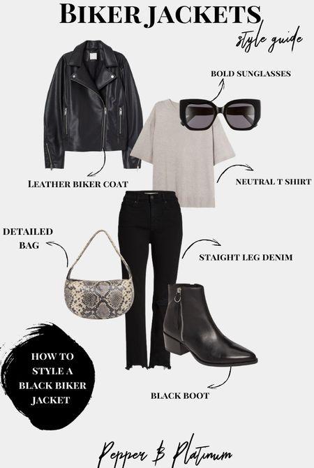 How to style a biker jacket:  straight leg jeans, t shirt, boots, black sunglasses, snakeskin bag.    #LTKunder100 #LTKunder50 #LTKstyletip