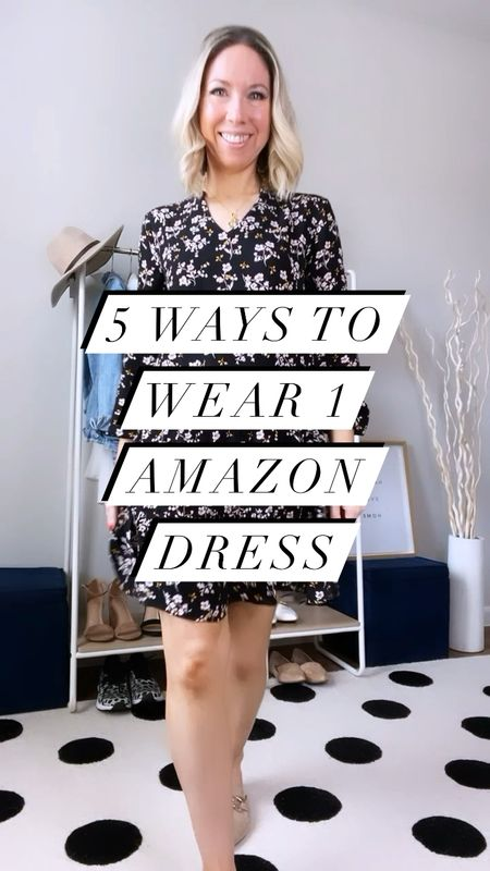 1 Amazon dress: 5 Ways to Wear!  Dress is true to size; longer in back than front, very comfortable and super versatile.  Wearing here in size small.  1) pair with mules/flats and a crossbody bag; size up 1/2 size in the mules  2) pair with booties and a jean jacket and tote bag; sized up 1 size in jean jacket for looser fit  3) pair with a cardigan, sneakers and backpack purse; backpack purse comes in lots of colors   4) dress it up with some over the knee boots and a small quilted crossbody bag; boots true to size  5) dress it up again with some heels and a fun pearl headband; headbands come in a pack of 6              Dress , amazon dress , fall dress , fall outfit , teacher outfits , casual dress , over the knee boots , booties , mules , Steve Madden , amazon fashion  , amazon finds , black purse , crossbody bag , old navy , target style #ltkseasonal #ltkitbag #ltkworkwear #ltkunder100  #LTKshoecrush #LTKstyletip #LTKunder50