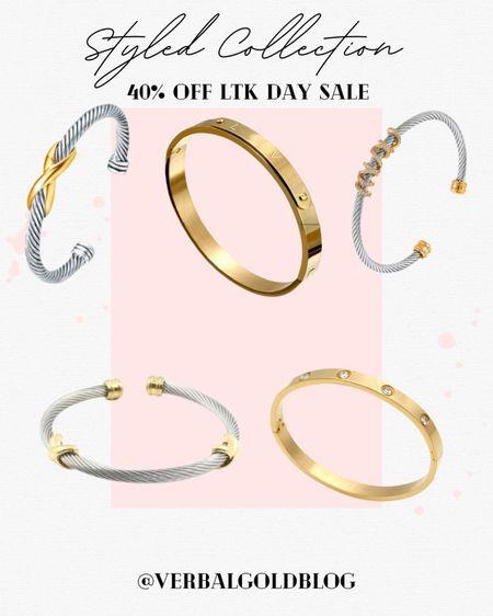 styled collection sale - styled collection bracelets - designer dupes - daily dupes - save vs splurge - splurge v save - designer inspired jewelry - cartier dupes - david yurman dupes - stackable bracelets - early gifting sale - love bracelet - friendship bracelets - gifts for her - stocking stuffers - gold bracelet - silver bracelet - ltk sale must haves   #LTKsalealert #LTKSale #LTKGifts