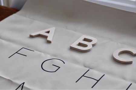"""Gathre mat """"Alphabet"""" with DIY wooden letters ...but now Gathre is selling gorgeous birch magnetic letters!! Waiting for a re-stock 🥰 #gathre   #LTKkids #LTKhome"""