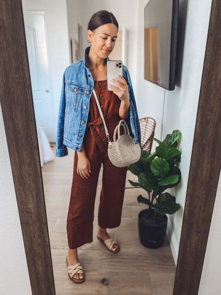 This jumpsuit color is old but they have a similar one! I find these jumpsuits run a bit bit so I sized down. Perfect summer outfit for when you don't feel like wearing shorts 💯   Bag linked is the same style but slightly larger size (mine is the Petite and that one is the Moyen)  #LTKstyletip #LTKSeasonal