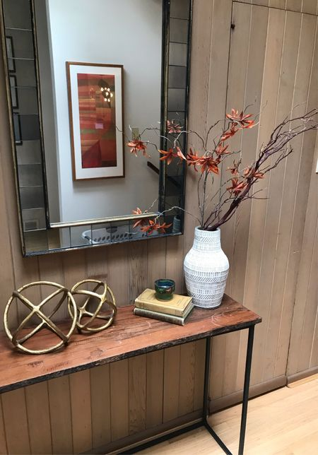Fall entryway decor🍁🍂  Crate and barrel, West Elm, wall mirror, decorative mirror, fall decor, fall foliage,   Stems and branches, decorative objects, spheres   #LTKhome #LTKsalealert #LTKunder50