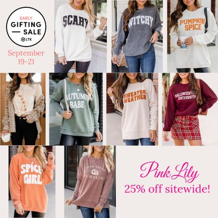 The LTK Early Gifting Sale ends tomorrow! All of your fall fashion favorites and bestsellers from Pink Lily are on sale for 25% off through September 21st, only in the LTK app!  . Fall graphic tee fall graphic sweatshirt fall fashion Halloween outfit thanksgiving outfit   #LTKsalealert #LTKSale #LTKunder50