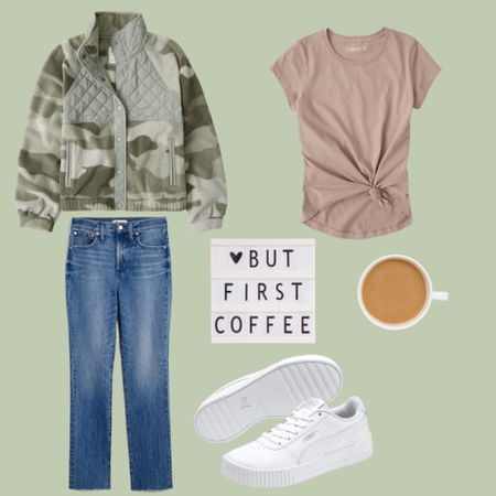 The cutest army Camo green pullover beige t-shirt, jeans, and white tennis shoes.     #LTKunder50 #LTKstyletip #LTKsalealert
