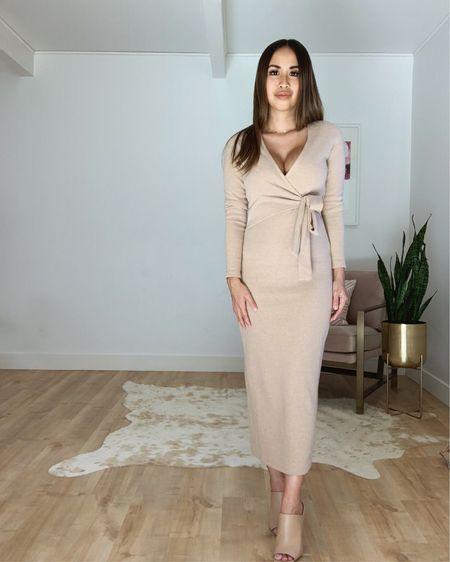 Neutral wrap sweater dress http://liketk.it/2Fc86 #liketkit @liketoknow.it #LTKunder50 #LTKstyletip