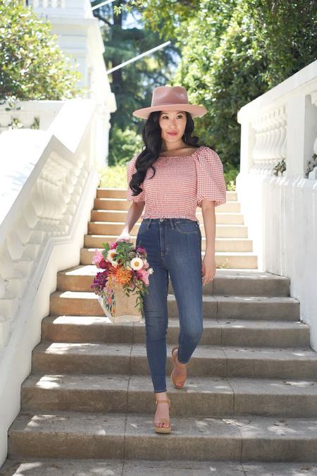 Brunch date! Sunshine Superwoman Top pink gingham with a dusty rose Gigi Pip hat. Pair with a flower tote and an initial necklace!  Brands: Steve Madden, BB Dakota, Gigi Pip, Brixton, Anthropologie, and Slant Collections.