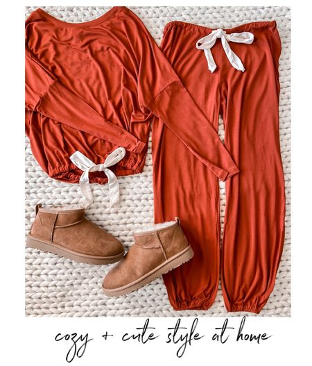 Eberjey pjs, pajamas, fall fashion, cozy, cozy style, Ugg booties, Uggs  (Wearing the XS)   Both of these make a great gift, especially for mom!   #LTKHoliday #LTKGiftGuide #LTKunder100