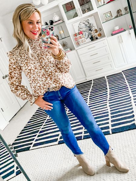 Blouse is 15% off with LAUREN15. Wearing a size small.