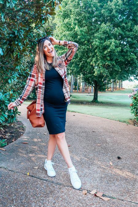 Monogrammed plaid layering tunic giving me all the fall vibes. #bumpstyle #maternitystyle   #LTKunder50 #LTKSeasonal #LTKbump
