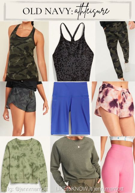This warmer weather is giving me spring/summer feels! Which makes me look forward to shorts, tanks, and all the warmer-weather athleisure fits! Camo, joggers, tie-dye, biker shorts, running shorts, tank tops, sweatshirts   #LTKunder50 #LTKSeasonal #LTKfit