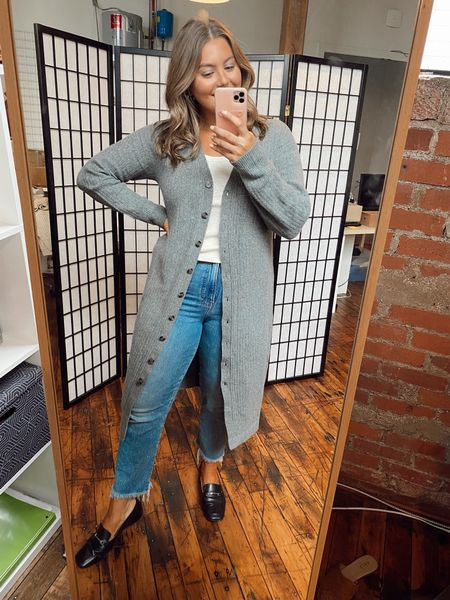 Another way to wear the cardigan - open with a white tank and straight leg jeans- wearing Xl in sweater and tank use CARALYN25   #LTKcurves #LTKunder100 #LTKstyletip