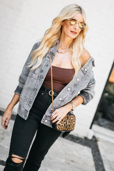 HAPPY SUNDAY! ➰ I just published a new YOUTUBE VIDEO titled THE TOP 10 WARDROBE ESSENTIALS EVERY WOMAN NEEDS so if your fall wardrobe is in need of an update this video is for you!   All of these versatile pieces can be mixed and matched and worn together to create an endless amount of chic fall looks. One of my favorite staples would have to be this gray denim jacket by Madewell. I love the of-the-moment over-sized fit and this versatile gray wash goes with everything! It runs tts, I'm wearing an XS.   Shop this look by clicking the link in my bio and to watch the video head over to my stories.   PS - these slimming high-waisted black jeans are on MAJOR SALE making them under $60! They run tts, I'm wearing a size 0 regular.     #LTKsalealert #LTKunder100 #LTKstyletip