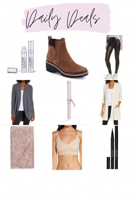 Neulash on sale / barefoot dreams floral blanket / barefoot dreams cardigan / t3 single pass iron / Spanx faux leather leggings / stila liquid eyeliner / true and co bralette / Huey studded booties /   #LTKsalealert #LTKunder100 #LTKstyletip